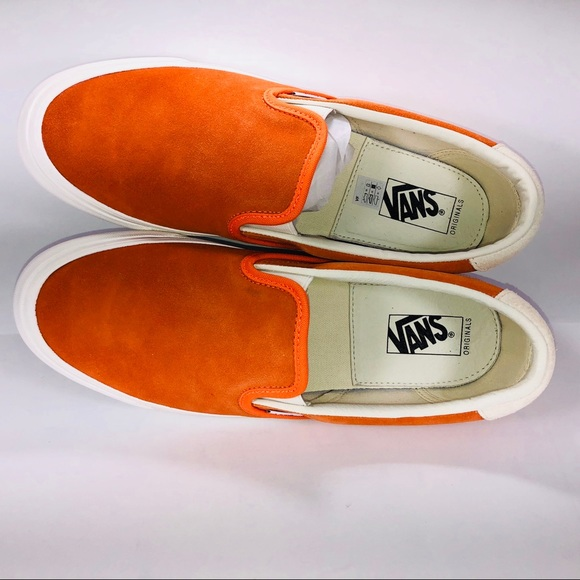 b18b19e6e4 VANS OG Slip On 59 LX Suede Red Orange Sneakers